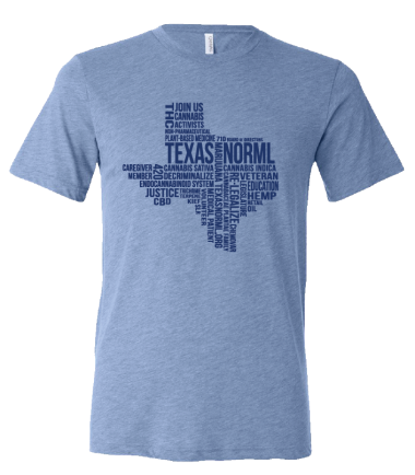 Light blue t-shirt with Texas NORML Word Logo